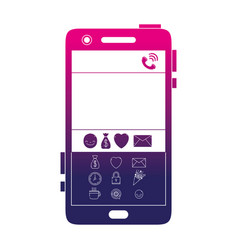 Silhouette smartphone technology with chat emojis vector