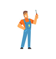 smiling professional electrician with screwdriver vector image