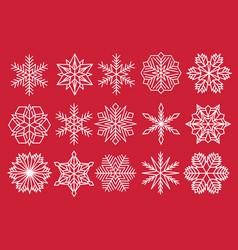 snowflake set snow flake isolated icon vector image