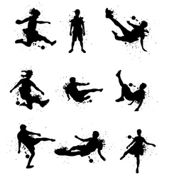 Soccer players silhouette with color splash vector image