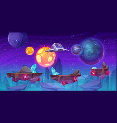 Space game level background with platforms vector