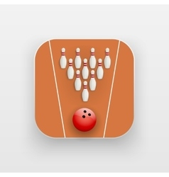 Square icon of bowling alley sport vector