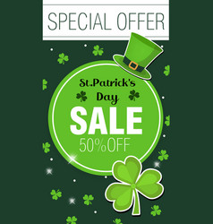 St patrick day discounts promotions poster vector