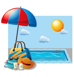 Summer scene with swimming pool and umbrella vector