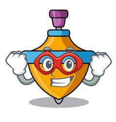 Super hero spinning top character cartoon vector