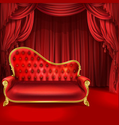 Theater concept red sofa scene curtains vector