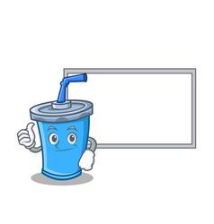 Thumbs up with board soda drink character cartoon vector