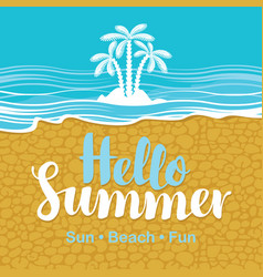 Travel banner with sea beach sand and palms vector