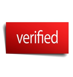 verified red paper sign on white background vector image
