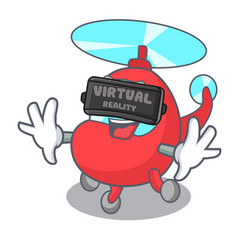 Virtual reality helicopter mascot cartoon style vector