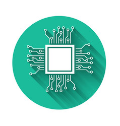 White processor icon isolated with long shadow vector