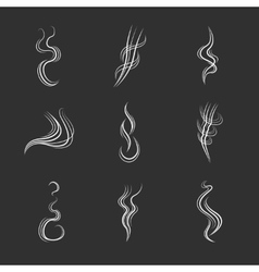 White smoke lines on black background set vector