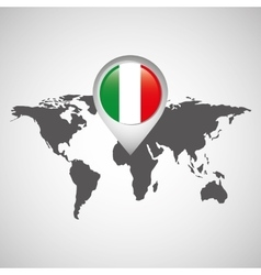 world map with pointer flag italy vector image