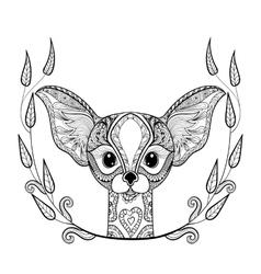 Zentangledesert Fox head totem in frame for adult vector