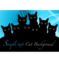 cat black background blue vector image