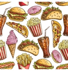 Fast food sketched snacks seamless pattern vector image