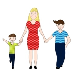 Mother holding the hand of his two sons vector image