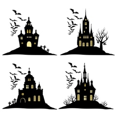 Set of halloween castle with bats black silhouette vector