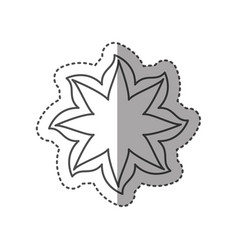 sticker black contour line with flower icon vector image vector image