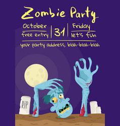 zombie party poster with walking dead man vector image vector image