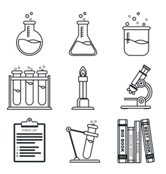 Black lineart icon set Chemistry Science vector image vector image