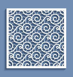 Cutout paper panel with wavy lace pattern vector