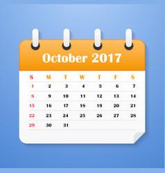 european calendar for october 2017 vector image vector image
