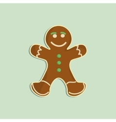Gingerbread man decorated colored icing Holiday vector image