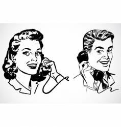retro phone conversation vector image vector image