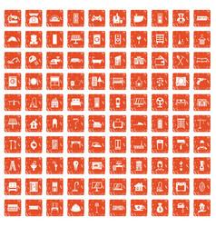 100 comfortable house icons set grunge orange vector image vector image