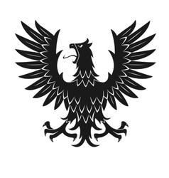 Black heraldic eagle in aggressive posture icon vector