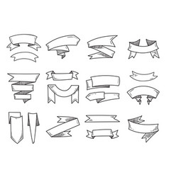 blank doodle vintage ribbons hand drawn vector image