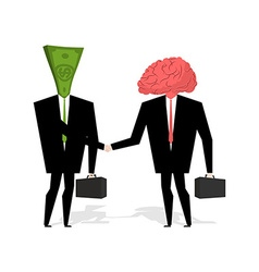 Brain and money transaction business brain and vector