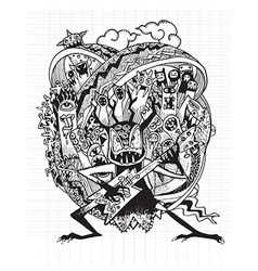 Hand drawn Monster rock band playing Rock music vector image