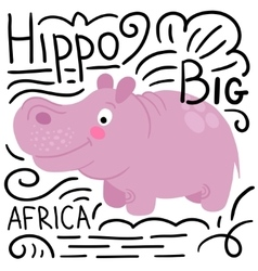 Hippo pink on a white background isolated vector
