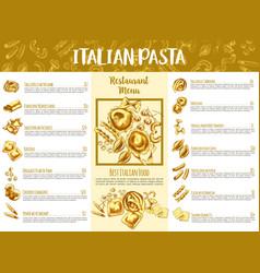italian pasta menu template for restaurant design vector image vector image