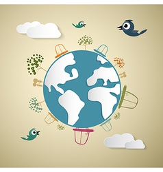 Paper Cars Clouds Trees Birds on Earth Globe vector image vector image