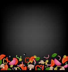 pizza border with black background vector image vector image