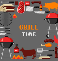 bbq time background with grill objects and icons vector image