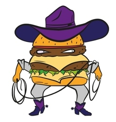 Funny cowboy burger cheeseburger in a hat and vector image