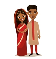 Happy indian young family couple vector image vector image