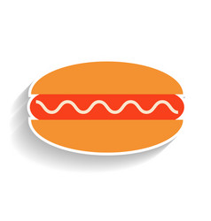 Hot dog with sausage and sauce flat color icon vector