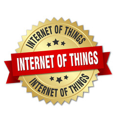 internet of things round isolated gold badge vector image vector image