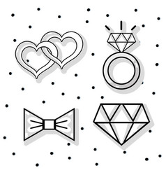 set groom and bried accesories decoration design vector image vector image