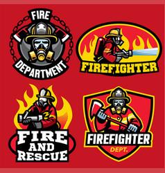 set of firefighter badge design vector image