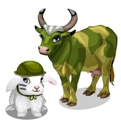 White bunny in helmet and cow in war paint vector image vector image