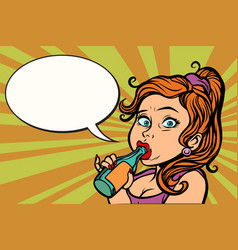 woman funny drinking a bottle of water or beer vector image vector image
