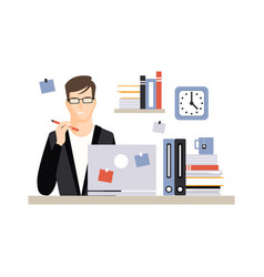 young businessman character sitting at the desk vector image vector image