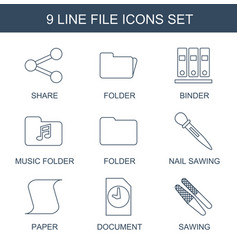 9 file icons vector image