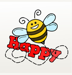 a bee and word happy vector image